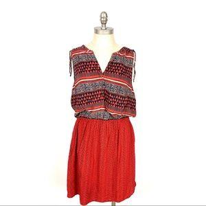 Lucky Brand Dress Sleeveless Orange Aztec Boho XL